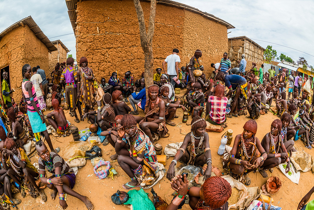 Hamer tribe weekly market in Turmi, Omo Valley, Ethiopia.
