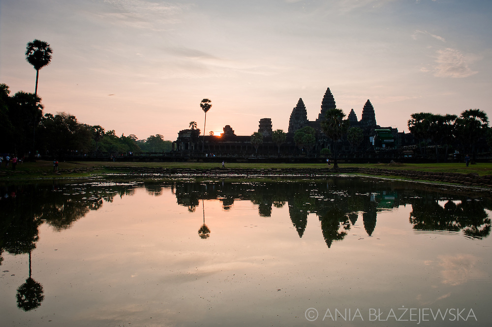 Cambodia. Sunrise at Angkor Wat, one of the most recognizable tourist attractions in the world.