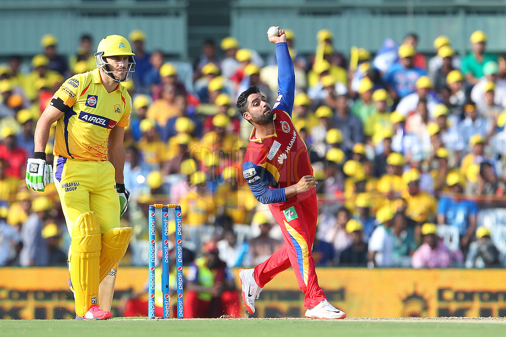 Iqbal Abdullah of the Royal Challengers Bangalore  during match 37 of the Pepsi IPL 2015 (Indian Premier League) between The Chennai Superkings and The Royal Challengers Bangalore held at the M. A. Chidambaram Stadium, Chennai Stadium in Chennai, India on the 4th May April 2015.<br /> <br /> Photo by:  Ron Gaunt / SPORTZPICS / IPL