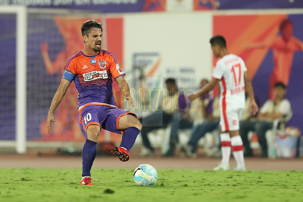 Marcelo Leite Pereira of FC Pune City shows his frustration during the first semi final 1st leg of the Hero Indian Super League between FC Pune City and Bengaluru FC held at the Shree Shiv Chhatrapati Sports Complex Stadium, Pune, India on the 7th March 2018<br /> <br /> Photo by: Ron Gaunt / ISL / SPORTZPICS