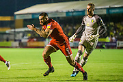 Ollie Palmer (Crawley Town)  sprints away following his attempt at goal to retrieve the ball again during the EFL Cup match between Crawley Town and Norwich City at The People's Pension Stadium, Crawley, England on 27 August 2019.