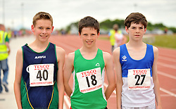Cormac McDermott Quay 3rd, Luke Dawson Westport 1st and Liam Og Horkan Claremorris 2nd in the boys U14 800m at the Mayo Commmunity Games finals in Claremorris.<br /> Pic Conor McKeown