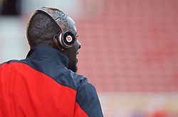STOKE-ON-TRENT, ENGLAND - Sunday, August 9, 2015: Liverpool's Mamadou Sakho wearing Beats headphones before the Premier League match against Stoke City at the Britannia Stadium. (Pic by David Rawcliffe/Propaganda)