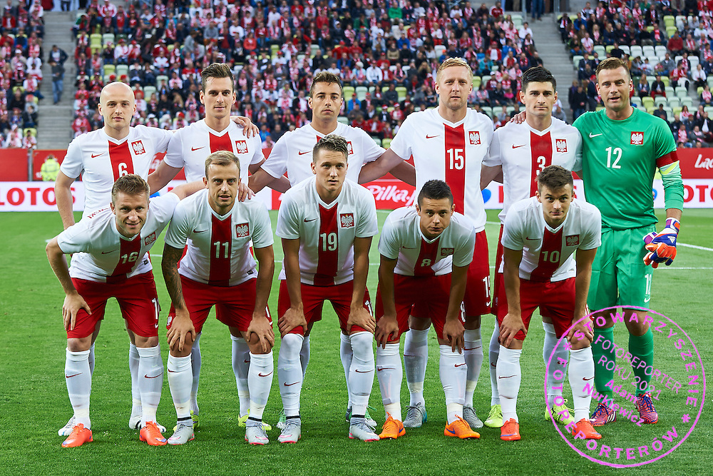 Up raw (L-R) Michal Pazdan, Arkadiusz Milik, Thiago Cionek, Kamil Glik, Marcin Komorowski, goalkeeper Artur Boruc, dawn raw: Jakub Blaszczykowski, Kamil Grosicki, Piotr Zielinski, Ariel Borysiuk, Karol Linetty pose to team photo during international friendly soccer match between Poland and Greece at PGE Arena Stadium on June 16, 2015 in Gdansk, Poland.<br /> Poland, Gdansk, June 16, 2015<br /> <br /> Picture also available in RAW (NEF) or TIFF format on special request.<br /> <br /> For editorial use only. Any commercial or promotional use requires permission.<br /> <br /> Adam Nurkiewicz declares that he has no rights to the image of people at the photographs of his authorship.<br /> <br /> Mandatory credit:<br /> Photo by &copy; Adam Nurkiewicz / Mediasport