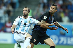 June 21, 2018 - Nizhny Novgorod, Russia - Group D Argentina v Croazia - FIFA World Cup Russia 2018.Gonzalo Higuain (Argentina) and Dejan Lovren (Croatia) at Nizhny Novgorod Stadium, Russia on June 21, 2018. (Credit Image: © Matteo Ciambelli/NurPhoto via ZUMA Press)