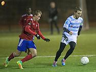 FODBOLD: Anfører Anders Holst (FC Helsingør) med bolden under træningskampen mellem FC Helsingør og HIK den 25. januar 2017 på Sydkystens Idrætsanlæg. Foto: Claus Birch