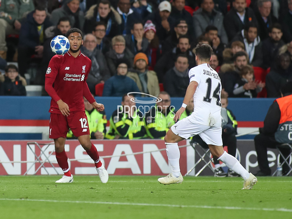 Joe Gomez of Liverpool with the ball during the Champions League group stage match between Paris Saint-Germain and Liverpool at Parc des Princes, Paris, France on 28 November 2018.