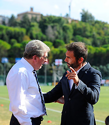England manager, Roy Hodgson is greeted by San Marino manager, Pierangelo Manzaroli  - Mandatory byline: Joe Meredith/JMP - 07966386802 - 05/09/2015 - FOOTBALL- INTERNATIONAL - San Marino Stadium - Serravalle - San Marino v England - UEFA EURO Qualifers Group Stage