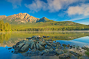 Pyramid Mountain and fog rising off Pyramid Lake <br />