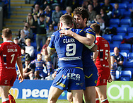 Stefan Ratchford (R) of Warrington Wolves celebrates scoring his try against Hull Kingston Rovers with Daryl Clark (L) during the Betfred Super League match at the Halliwell Jones Stadium, Warrington<br /> Picture by Stephen Gaunt/Focus Images Ltd +447904 833202<br /> 14/04/2018