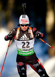 Andrea Henkel of Germany  during the Women 15 km Individual of the e.on IBU Biathlon World Cup on Thursday, December 16, 2010 in Pokljuka, Slovenia. The fourth e.on IBU World Cup stage is taking place in Rudno Polje - Pokljuka, Slovenia until Sunday December 19, 2010.  (Photo By Vid Ponikvar / Sportida.com)
