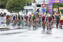 The peloton works hard to bring down the gap between them and Brand in the final lap of the 97,1 km second stage of the 2016 Ladies' Tour of Norway women's road cycling race on August 13, 2016 between Mysen and Sarpsborg, Norway. (Photo by Balint Hamvas/Velofocus)