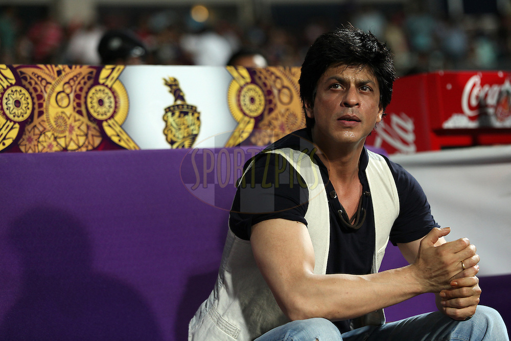 KKR co-owner SRK first time sitting at owners dugout during match 63 of the the Indian Premier League ( IPL) 2012  between The Kolkata Knight Riders and The Chennai Superkings held at the Eden Gardens Stadium in Kolkata on the 14th May 2012..Photo by Saikat Das/IPL/SPORTZPICS