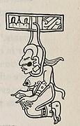 Ixtab, Mayan goddess of suicide. Woodcut.