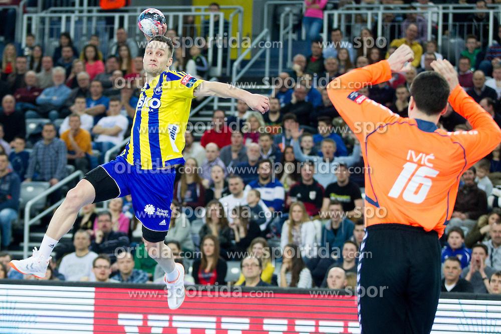 Luka Zvizej of RK Celje Pivovarna Lasko during handball match between PPD Zagreb (CRO) and RK Celje Pivovarna Lasko (SLO) in 13th Round of Group Phase of EHF Champions League 2015/16, on February 27, 2016 in Arena Zagreb, Zagreb, Croatia. Photo by Urban Urbanc / Sportida