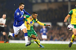 Kevin Mirallas of Everton challenges Martin Olsson of Norwich City  - Mandatory byline: Matt McNulty/JMP - 07966 386802 - 27/10/2015 - FOOTBALL - Goodison Park - Liverpool, England - Everton v Norwich City - Capital One Cup