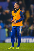 Chelsea midfielder Eden Hazard (10) stops his warms up to watch a re-run on the big screen before the EFL Cup semi final second leg match between Chelsea and Tottenham Hotspur at Stamford Bridge, London, England on 24 January 2019.