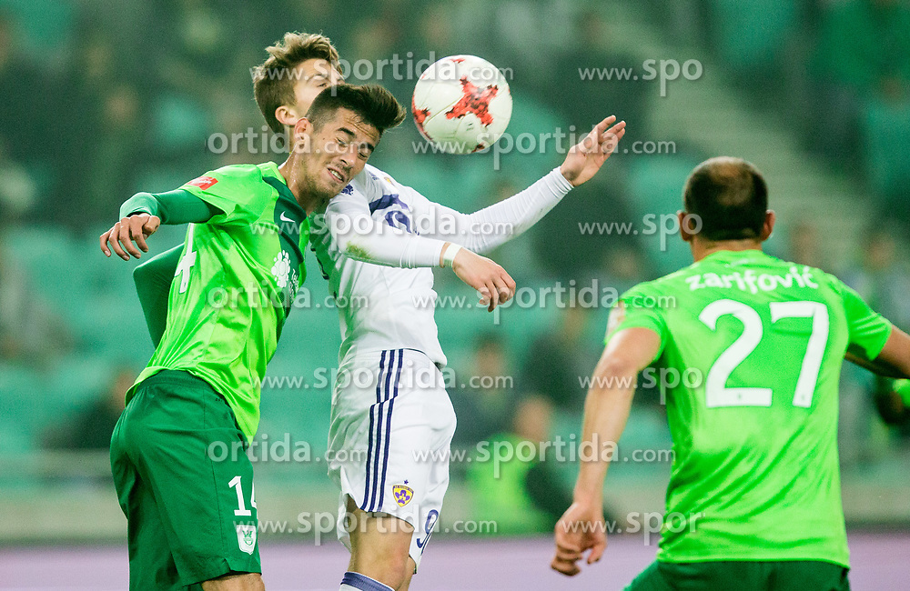 Mario Jurcevic of NK Olimpija vs Luka Zahovic of Maribor during football match between NK Olimpija and NK Maribor in Round #31 of Prva liga Telekom Slovenije 2016/17, on April 29, 2017 in SRC Stozice, Ljubljana, Slovenia. Photo by Vid Ponikvar / Sportida