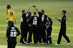Sussex celebrate the wicket of Hampshire's James Vince - Photo mandatory by-line: Robbie Stephenson/JMP - Mobile: 07966 386802 - 19/06/2015 - SPORT - Cricket - Southampton - The Ageas Bowl - Hampshire v Sussex - Natwest T20 Blast