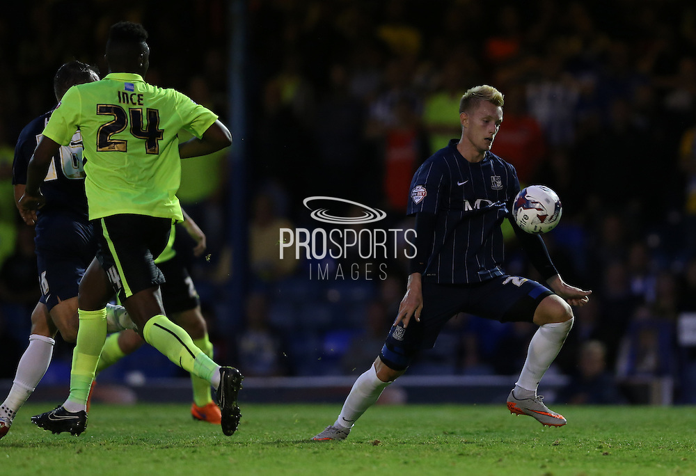 Joe Pigott during the Capital One Cup match between Southend United and Brighton and Hove Albion at Roots Hall, Southend, England on 11 August 2015.