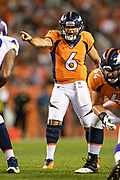 DENVER, CO - AUGUST 11:  Chad Kelly #6 of the Denver Broncos calls a play at the line of scrimmage during a game against the Minnesota Vikings during week one of the preseason at Broncos Stadium at Mile High on August 11, 2018 in Denver, Colorado.  The Vikings defeated the Broncos 42-28.  (Photo by Wesley Hitt/Getty Images) *** Local Caption *** Chad Kelly