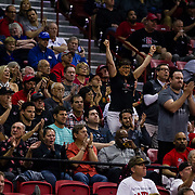 09 March 2018: San Diego State men's basketball takes on Nevada in the quarterfinal round of the Mountain West Conference Tournament. Aztecs fans cheer on the team as they push their lead to fifteen points in the first half. The Aztecs cruise past the the Wolfpack 90-73 to move on to the Championship game tomorrow afternoon at 3pm.<br /> More game action at www.sdsuaztecphotos.com