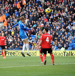 Hull City's Nikica Jelavic scores his sec on of the game with a header - Photo mandatory by-line: Joe Meredith/JMP - Tel: Mobile: 07966 386802 22/02/2014 - SPORT - FOOTBALL - Cardiff - Cardiff City Stadium - Cardiff City v Hull City - Barclays Premier League