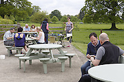 Tourists are eating at a traditional culinary shop in Beningbrough, Yorkshire, England, United Kingdom.