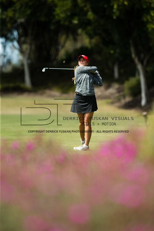 26 March 2018: Sarah Kjellker tees off on the sixteenth hole during the opening round of the March Mayhem Tournament hosted by SDSU at the Farms Golf Club in Rancho Santa Fe, California. <br /> More game action at sdsuaztecphotos.com