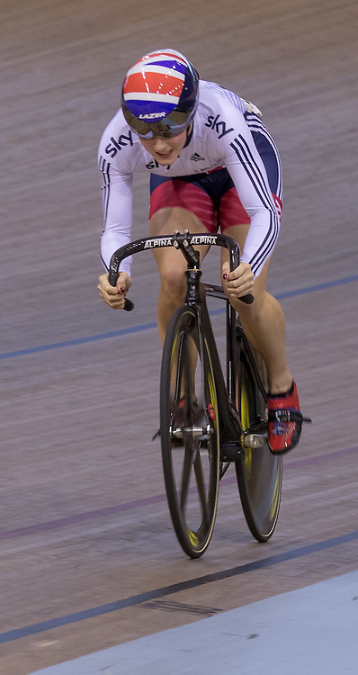 Victoria Williamson (GBR) during UCI Sprint – Qualification 200m Time Trial – Women.  Revolution 55 Track Cycling Glasgow, 28th November 2015