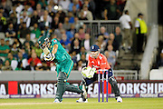 Khalid Latif hits a six and gets his fifty during the International T20 match between England and Pakistan at the Emirates, Old Trafford, Manchester, United Kingdom on 7 September 2016. Photo by Craig Galloway.