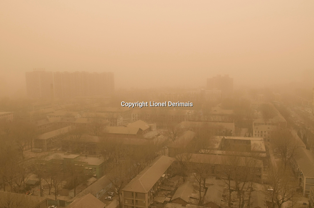 Dust storm over Beijing, China.