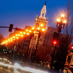 Country Club Plaza Lights in Kansas City, traffic motion blur and the Giralda Tower on 47th Street.