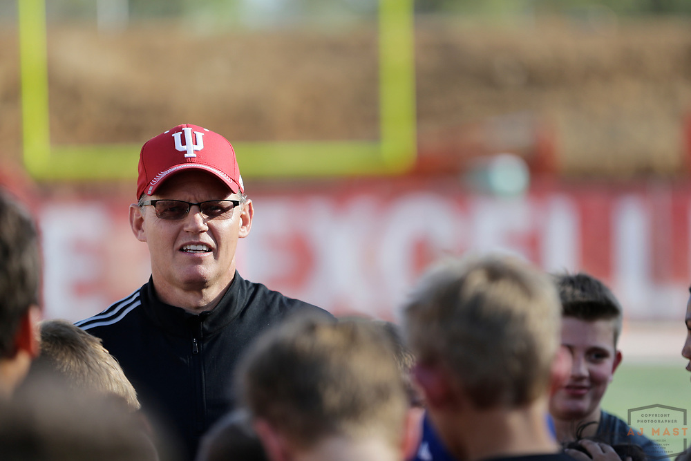 Indiana head football coach Tom Allen during his teams spring scrimmage NCAA college football game in Bloomington, Ind., Friday, April 13, 2017. (AJ Mast)