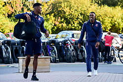 Marcus Delpeche of Bristol Flyers and Raphell Thomas-Edwards of Bristol Flyers arrives at SGS Wise Arena prior to tip off - Photo mandatory by-line: Ryan Hiscott/JMP - 20/09/2019 - BASKETBALL - SGS Wise Arena - Bristol, England - Bristol Flyers v Surrey Scorchers - British Basketball League Cup