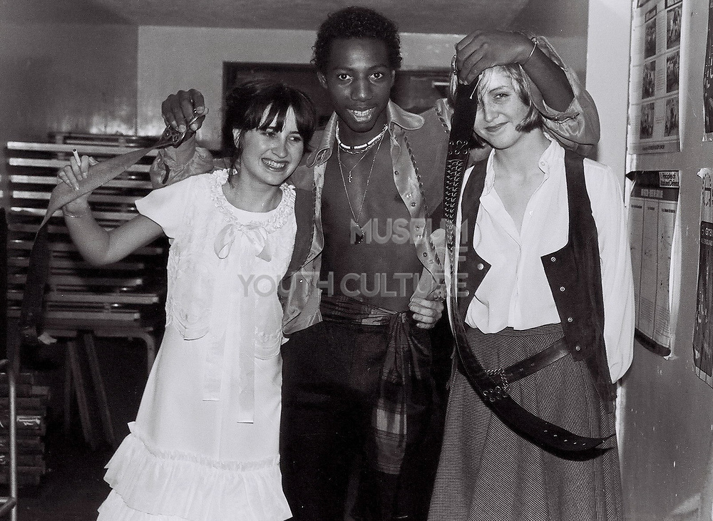 Teenagers in costume after a school production of Pirates of Penzence, London, UK, 1983