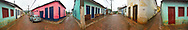 LENCOIS, BAHIA, BRAZIL, A panoramic view of the streets of Lencois, Brazil.  Lencois is a town where many of Brazil's artists come to find inspiration.  The beautiful mountain setting also attracts many tourists.