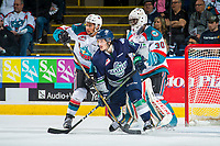 KELOWNA, CANADA - APRIL 26: Mathew Barzal #13 of the Seattle Thunderbirds looks for the pass while checked by Devante Stephens #21 in front of the net of Michael Herringer #30 of the Kelowna Rockets on April 26, 2017 at Prospera Place in Kelowna, British Columbia, Canada.  (Photo by Marissa Baecker/Shoot the Breeze)  *** Local Caption ***
