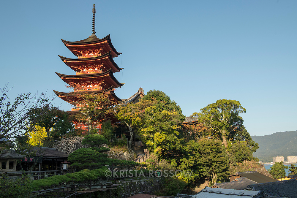View of the Five Storied Pagoda from the town on Miyajima Island, Hiroshima Prefecture, Japan.