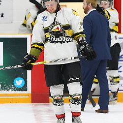 TRENTON, ON  - MAY 5,  2017: Canadian Junior Hockey League, Central Canadian Jr. &quot;A&quot; Championship. The Dudley Hewitt Cup Game 7 between Georgetown Raiders and the Powassan Voodoos.    Justin Schebel #2 of the Powassan Voodoos post game.<br /> (Photo by Alex D'Addese / OJHL Images)