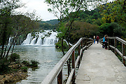 Walkway and bridge near waterfall, Krka National Park, Croatia