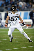 Jacksonville Jaguars rookie linebacker Nick DeLuca (57) during the week 14 regular season NFL football game against the Tennessee Titans on Thursday, Dec. 6, 2018 in Nashville, Tenn. The Titans won the game 30-9. (©Paul Anthony Spinelli)