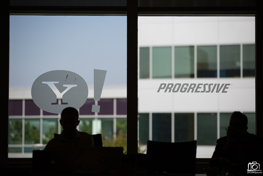 Executives of Progressive Insurance visit Yahoo! Inc. for a special event at Yahoo! Inc. in Sunnyvale, California, on July 31, 2013. (Stan Olszewski/SOSKIphoto)
