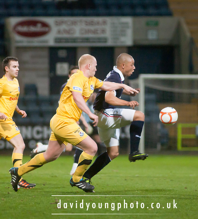 Dundee's Leighton McIntosh and Ayr United's Chris Smith - Dundee v Ayr United, Irn Bru Scottish Football League First Division at Dens Park..© David Young - 5 Foundry Place - Monifieth - DD5 4BB - Telephone 07765 252616 - email; davidyoungphoto@gmail.com - web; www.davidyoungphoto.co.uk