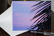 Photo greeting card with pink sunset, Santa Monica, California, purple sky, palm trees. West LA card, paper goods, Los Angeles, Southern CA.