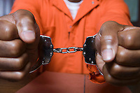 Handcuffed criminal, close-up