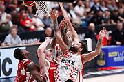 Rimbalzo in area Armani milano, EA7 EMPORIO ARMANI OLIMPIA MILANO vs THE FLEXX PISTOIA, 29^ Campionato Lega Basket Serie A 2017/2018, Mediolanum Forum Assago (MI) 6 maggio 2018 - FOTO: Bertani/Ciamillo