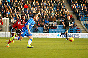Gillingham FC forward Cody McDonald (10) breaks through on goal during the EFL Sky Bet League 1 match between Gillingham and Shrewsbury Town at the MEMS Priestfield Stadium, Gillingham, England on 28 January 2017. Photo by Andy Walter.