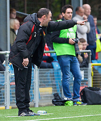 NEWTOWN, WALES - Saturday, May 2, 2015: Newtown's manager Chris Hughes during the FAW Welsh Cup final match against The New Saints at Latham Park. (Pic by Ian Cook/Propaganda)