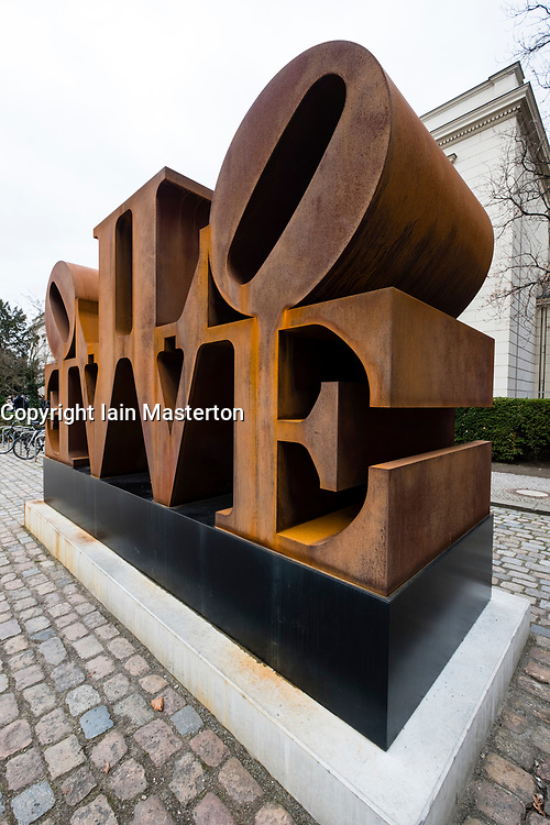 Imperial Love sculpture by Robert Indiana at Hamburger Bahnhof modern art museum in Berlin, Germany